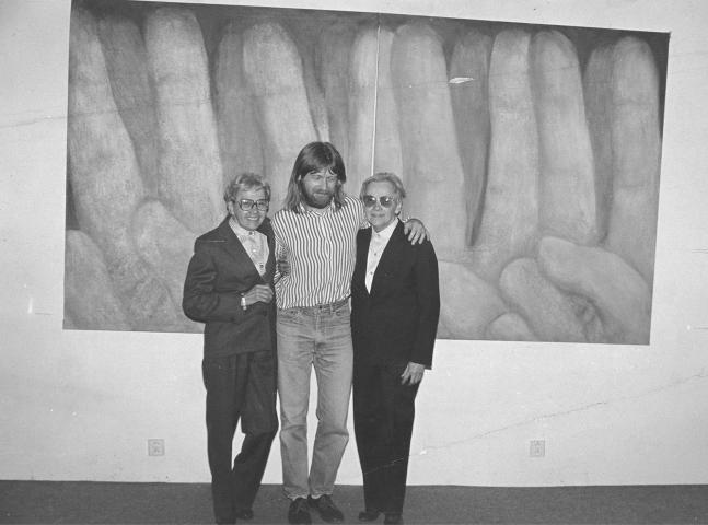 Jitka and Květa with Václav Fiala at the opening of the exhibition at the White Unicorn Gallery in Klatovy. 199. Válová Sisters Archive