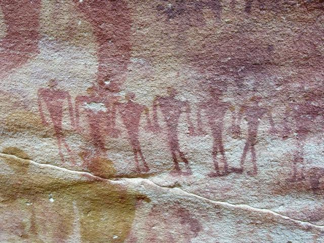Rock paintings in the Sudanese desert, serving as inspiration to Jitka from 2007-11. Photo: Václav Cílek.